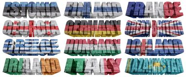 Países europeos (de E K) a las palabras de la bandera Fotos de archivo