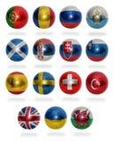 Países europeos (de P W) a las bolas de la bandera Imagen de archivo