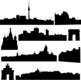 Países europeos, los edificios más famosos Foto de archivo libre de regalías