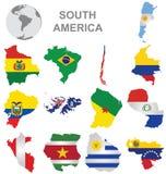 Países suramericanos Fotografía de archivo libre de regalías