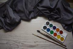 Pañería de seda con la acuarela Foto de archivo