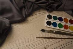 Pañería de seda con la acuarela Fotografía de archivo libre de regalías