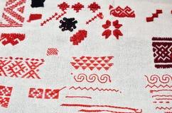 Paño con clases diversas de bordado hecho a mano Foto de archivo