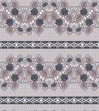 Paño de encaje de la textura inconsútil con las flores Cinta horizontal con rejilla ilustración del vector