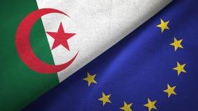 Paño de la materia textil de las banderas de Argelia y de la unión europea dos, textura de la tela libre illustration