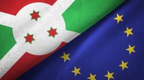 Paño de la materia textil de las banderas de Burundi y de la unión europea dos, textura de la tela stock de ilustración