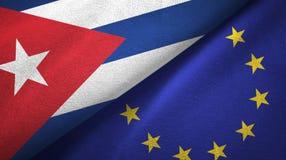 Paño de la materia textil de las banderas de Cuba y de la unión europea dos, textura de la tela stock de ilustración