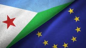 Paño de la materia textil de las banderas de Djibouti y de la unión europea dos, textura de la tela ilustración del vector