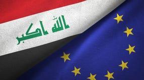 Paño de la materia textil de las banderas de Iraq y de la unión europea dos, textura de la tela stock de ilustración