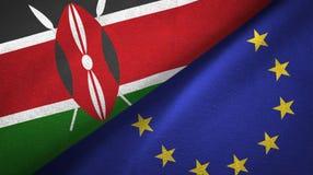 Paño de la materia textil de las banderas de Kenia y de la unión europea dos, textura de la tela stock de ilustración