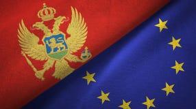 Paño de la materia textil de las banderas de Montenegro y de la unión europea dos, textura de la tela stock de ilustración