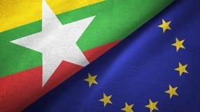 Paño de la materia textil de las banderas de Myanmar y de la unión europea dos, textura de la tela ilustración del vector