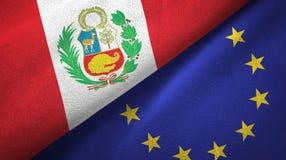 Paño de la materia textil de las banderas de Perú y de la unión europea dos, textura de la tela ilustración del vector