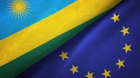 Paño de la materia textil de las banderas de Rwanda y de la unión europea dos, textura de la tela ilustración del vector