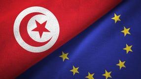 Paño de la materia textil de las banderas de Túnez y de la unión europea dos, textura de la tela stock de ilustración