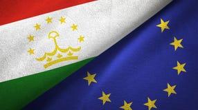 Paño de la materia textil de las banderas de Tayikistán y de la unión europea dos, textura de la tela ilustración del vector
