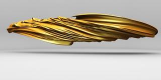 Paño de seda de lujo de oro del satén que vuela Elemento del diseño Imágenes de archivo libres de regalías
