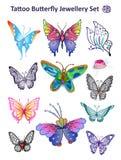 Paño determinado de la impresión de la joyería de la mariposa del tatuaje Fotos de archivo