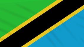 Paño que agita de la bandera de Tanzania, lazo del fondo stock de ilustración