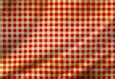 Paño rojo de la comida campestre Foto de archivo libre de regalías