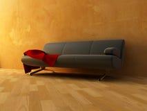Paño rojo del terciopelo en el sofá Imagen de archivo