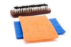 Paños de esponja con Handbrush Fotografía de archivo libre de regalías