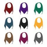 Pañuelo azul del verano del sol Pañuelo con los nudos en los extremos Las bufandas y los mantones escogen el icono en vector negr libre illustration