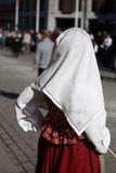 Pañuelo bordado tradicional llevado en el día noruego de la constitución, festividad nacional Fotografía de archivo
