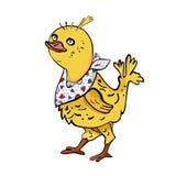 Pañuelo del cuello del pollo que lleva alegre aislado en el fondo blanco stock de ilustración