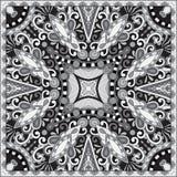 Pañuelo floral ornamental blanco y negro de Paisley stock de ilustración