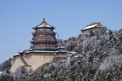 Pałac buddysty kadzidło w śnieżnym sezonie Fotografia Stock