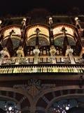 Pałac Katalońska muzyka nocą fotografia stock