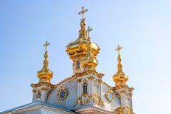 Pałac kościół święty Peter i Paul w Peterhof Peterhof, Petersburg, Rosja Obraz Royalty Free