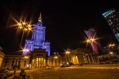 Pałac kultura i nauka w Warszawa przy nocą zdjęcia royalty free