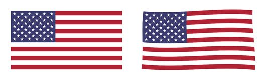 państwa bandery zjednoczonej ameryki Prosty i nieznacznie machający versio ilustracja wektor