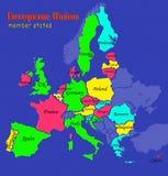 Państwa Członkowskie Europejskiego zjednoczenia mapa ilustracji