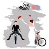Państwo młodzi na bicyklach tylko para za mąż ilustracji