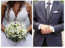 Państwo młodzi na dniu ślubu Fotografia Stock
