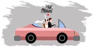 Państwo młodzi na samochodzie tylko para za mąż ilustracja wektor