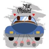 Państwo młodzi na samochodzie tylko para za mąż ilustracji