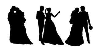 Państwo młodzi sylwetki ustawiają 3 royalty ilustracja