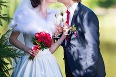 Państwo młodzi trzyma pięknie dekorujących ślubnych szkieł wi Zdjęcia Stock