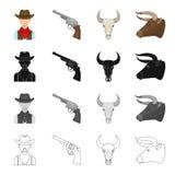 Paśnik, rodeo, gospodarstwo rolne i inna sieci ikona w kreskówce, projektujemy Ameryka, Teksas, zwierzęta, ikony w ustalonej kole royalty ilustracja
