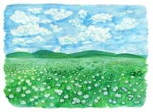 Paśnik z, pole, obszar trawiasty lub lub royalty ilustracja