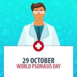 29 Październik Światowy łuszczycy dzień Medyczny wakacje Wektorowa medycyny ilustracja ilustracji