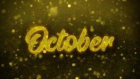 Październik Życzy powitanie kartę, zaproszenie, świętowanie fajerwerk ilustracja wektor