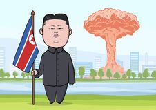 PAŹDZIERNIK, 30, 2017: Jądrowej bomby wybuch w mieście, grzybach atomowych i karykatura charakterze koreańczyk z korei północnej, Zdjęcie Stock