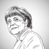 Październik 31, 2017: Rysować Angela Merkel kanclerz Niemcy również zwrócić corel ilustracji wektora Obraz Royalty Free