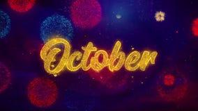 Października powitania teksta błyskotania cząsteczki na Barwionych fajerwerkach