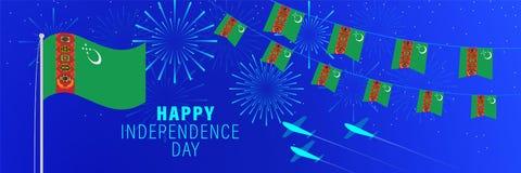 Października27 Turkmenistan dnia niepodległości kartka z pozdrowieniami Świętowania tło z fajerwerkami, flagami, flagpole i teks ilustracja wektor